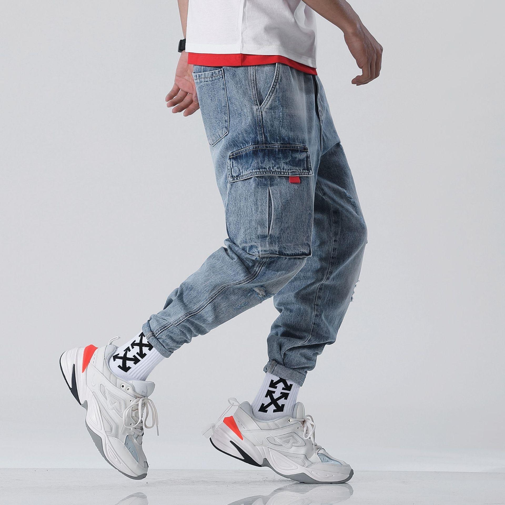 2r8Bn isjwH Весна рваные мужские уличные Комбинезоны шаровары свободные прямые Korean Стильная пешком ПАН Комбинезоны пят моды джинсы и джинсы бу