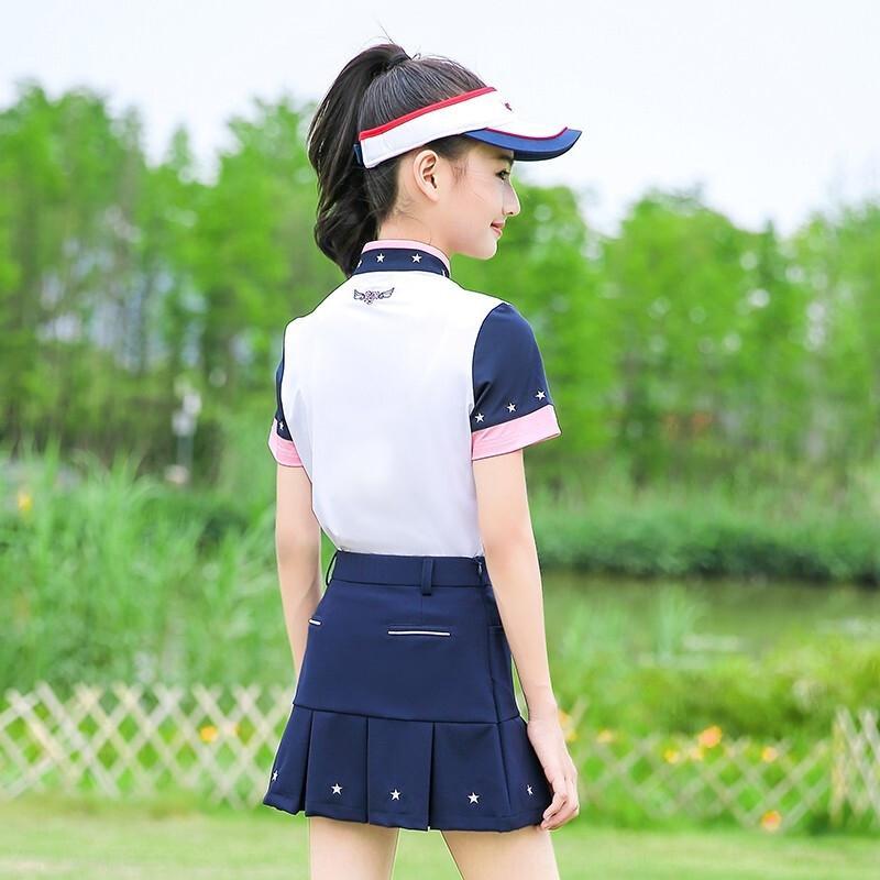 T-shirt roupas roupas PGM terno verão de golfe das crianças roupas de golfe das meninas T-shirt de manga curta saia plissada