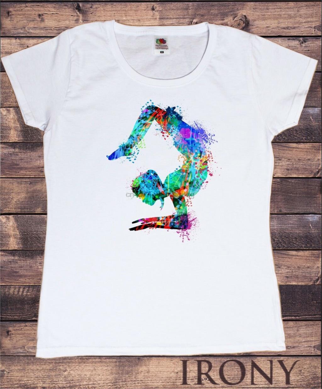 Женская белая футболка Йога Медитация Поза Красочный Splatter Духовная Tee TS782