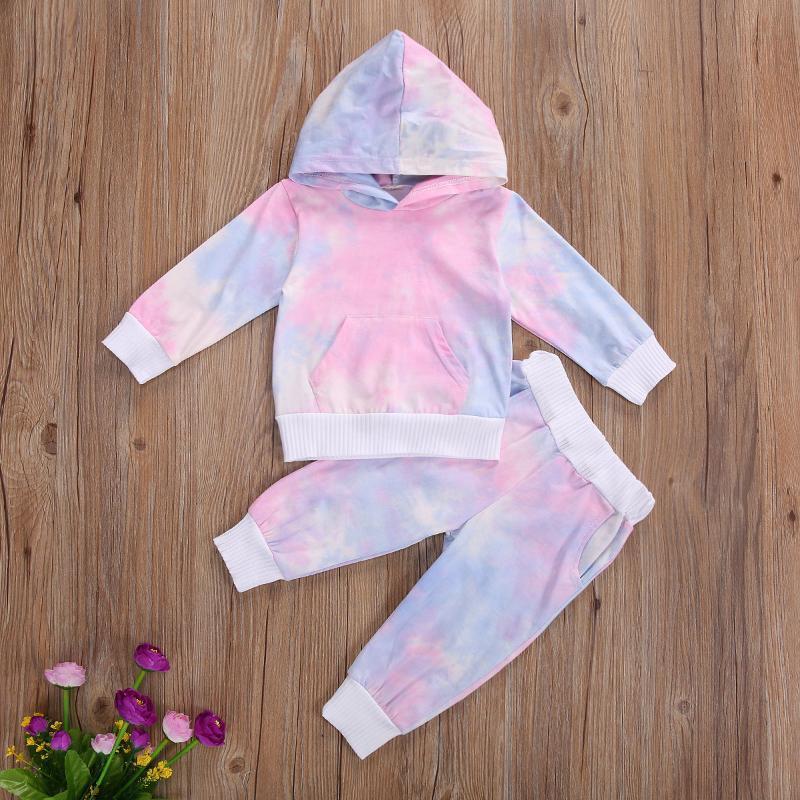 Наборы одежды Детские детские красочные моды 2-х частей наряд набор с длинным рукавом галстук капюшонов и брюки для девочек