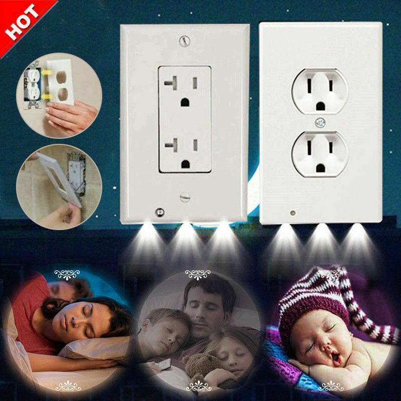 Plugue tampa LED Night Light PIR Movimento Segurança Sensor de luz Anjo Tomada Corredor Quarto Banheiro Lamp Noite