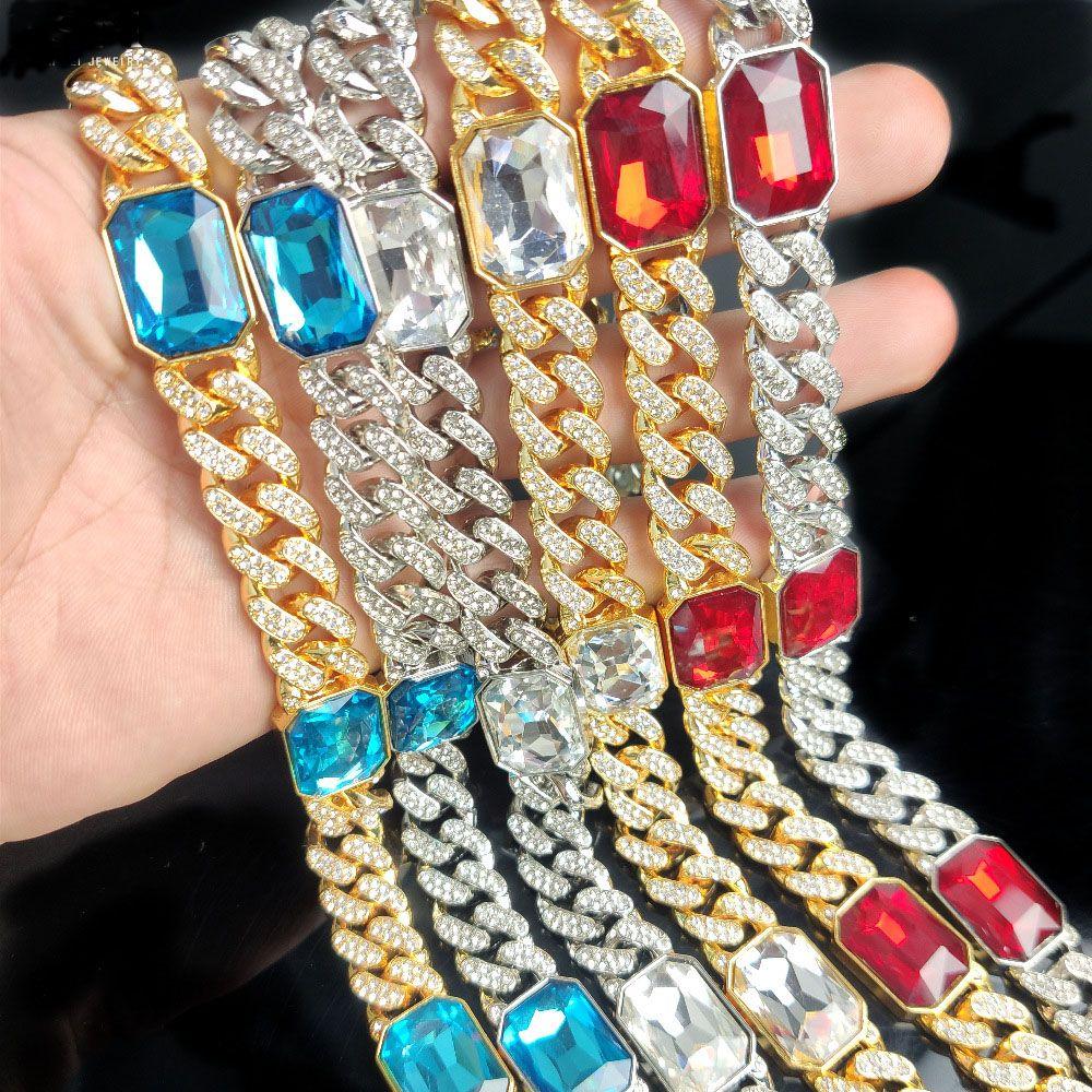 Edelsteine mit kubanischen Halskette Männer und Frauen Claviclekette beliebten Schmuck Hip-Hop-Männer und Frauen Schmuck Halskette vergoldet Armband