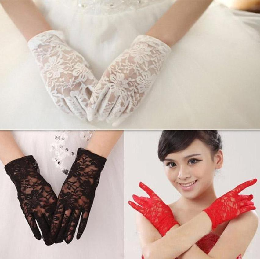Finger For Fit Wedding Lace Gloves Party Women Banquet Wedding Fashion Full Bridal Gloves Print Party 2016 Dress Lady whole2019 VJeUL
