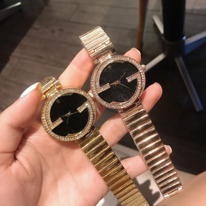 Luxo Diamantes Mulheres Relógios De Aço Inoxidável Moda Senhora Quartzo Gelado Out WristWatch Senhoras Relógio Montre Femme Reloj Mujer Relojes de Lujo
