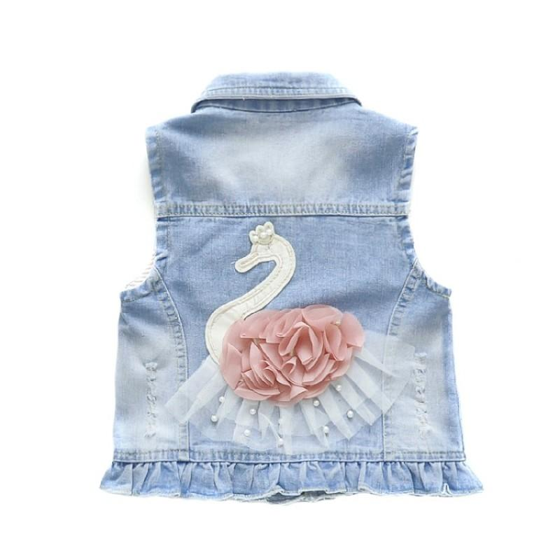 Niñas chalecos de mezclilla pantalones jeans de 8 tops casuales de vestir exteriores Ropa de los niños del otoño del resorte de las muchachas Ropa Kid chalecos para niños pequeños