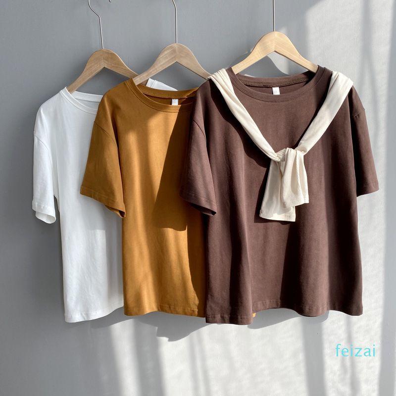 Горячие Продажа Mooirue Весна Женщины Хлопок Футболка с коротким рукавом Коричневый Оранжевый Простые Basic Tee Shirt Tops