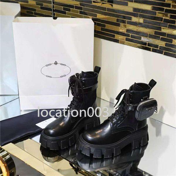 scarpe da donna classiche europee aumentano di tendenza Martin stivali borse in pelle decorazione moto stivaletti suola in gomma stivali sexy