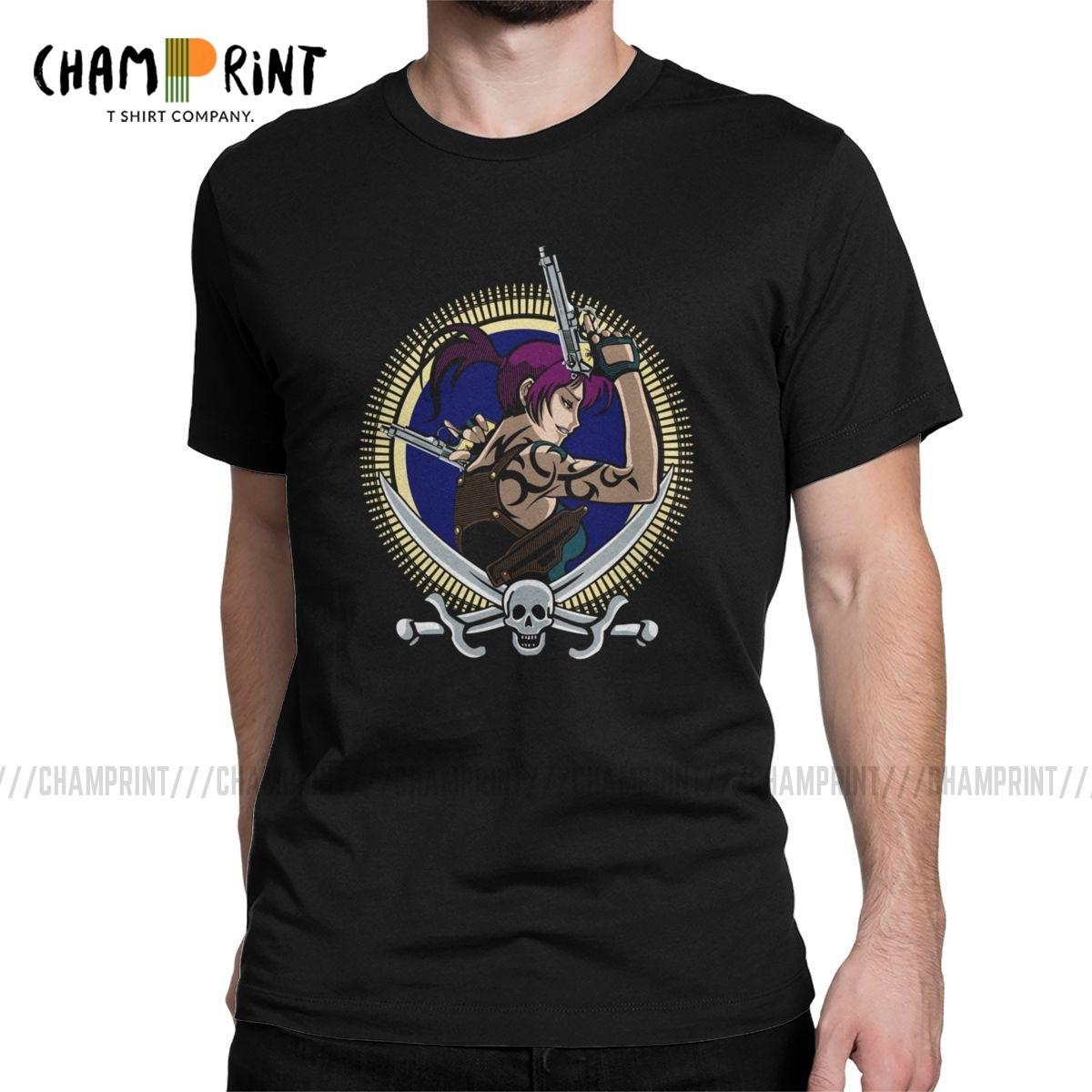 Les hommes à deux mains T-shirts en coton Black Lagoon Revy Anime pur Vêtements vintage à manches courtes T-shirt ras du cou Big Size T-shirt