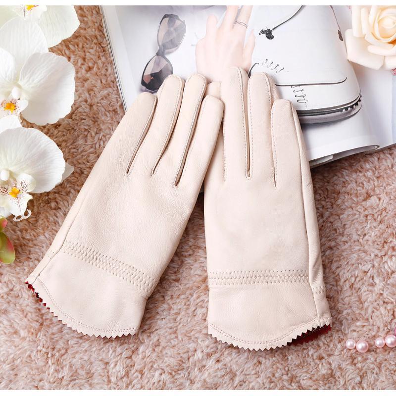 2020 kadın hakiki deri eldiven eldiven sonbahar ve kış moda kadın rüzgar geçirmez koyun derisi kırmızı