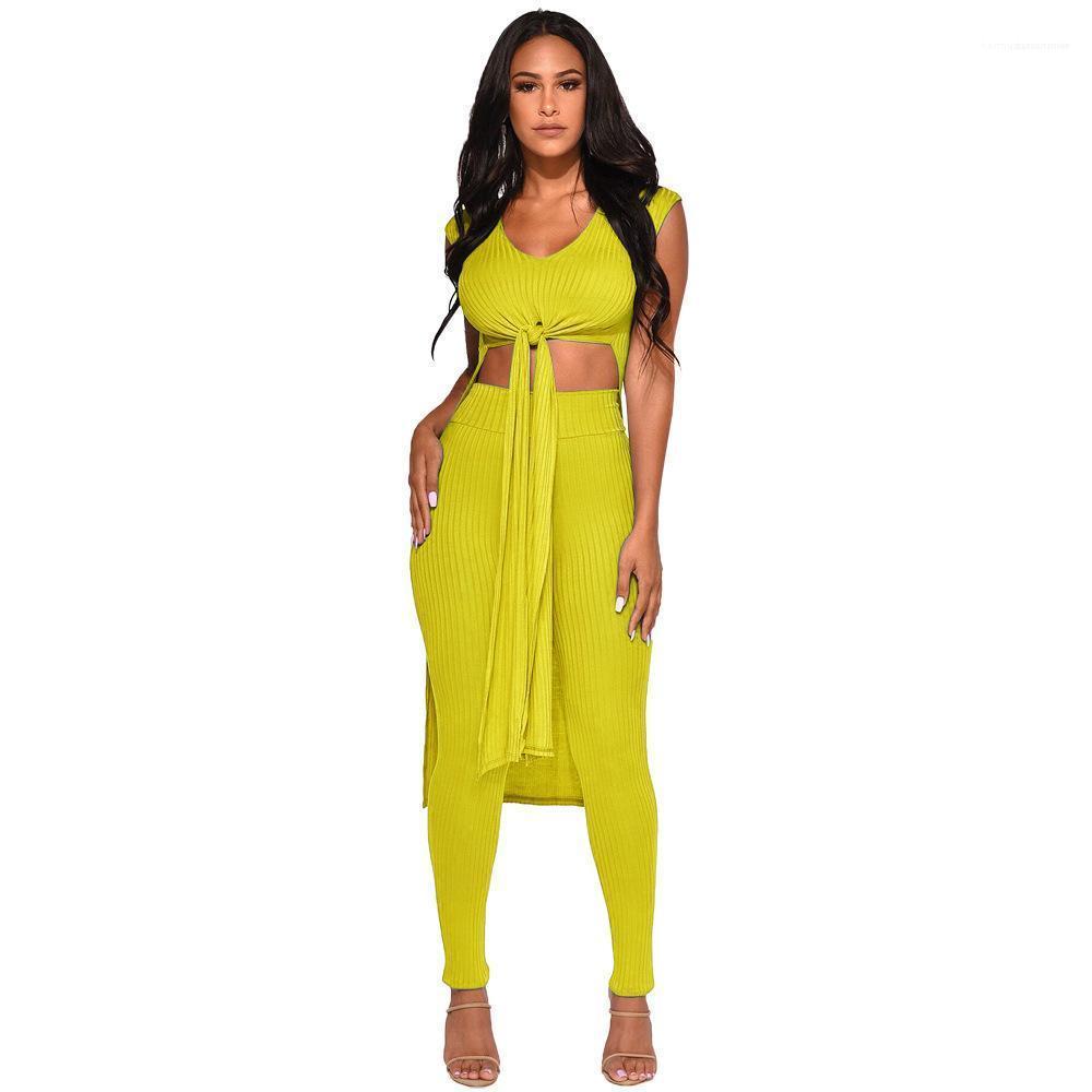 Pantalones para mujer Diseñador chándales mujer de dos piezas de la manera del equipo del color sólido Bandge Tuxedo Top Skinney