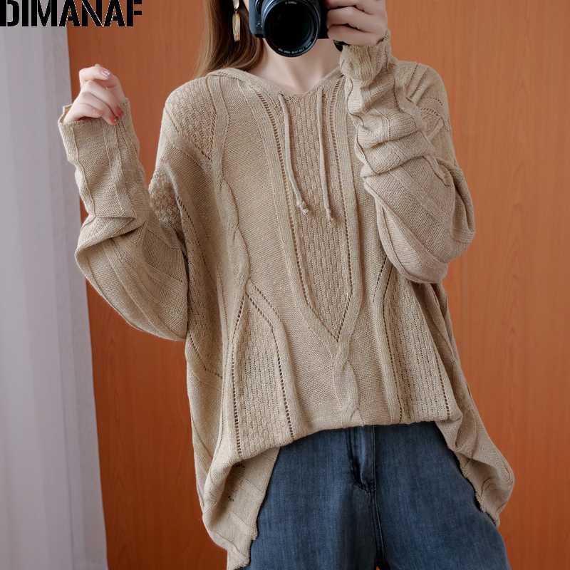 DIMANAF Plus Size Frauen Pullover Pullover mit Kapuze Strick Langarm-lose Aufmaß Dame Tops Damen Kleidung Herbst-Winter-5XL