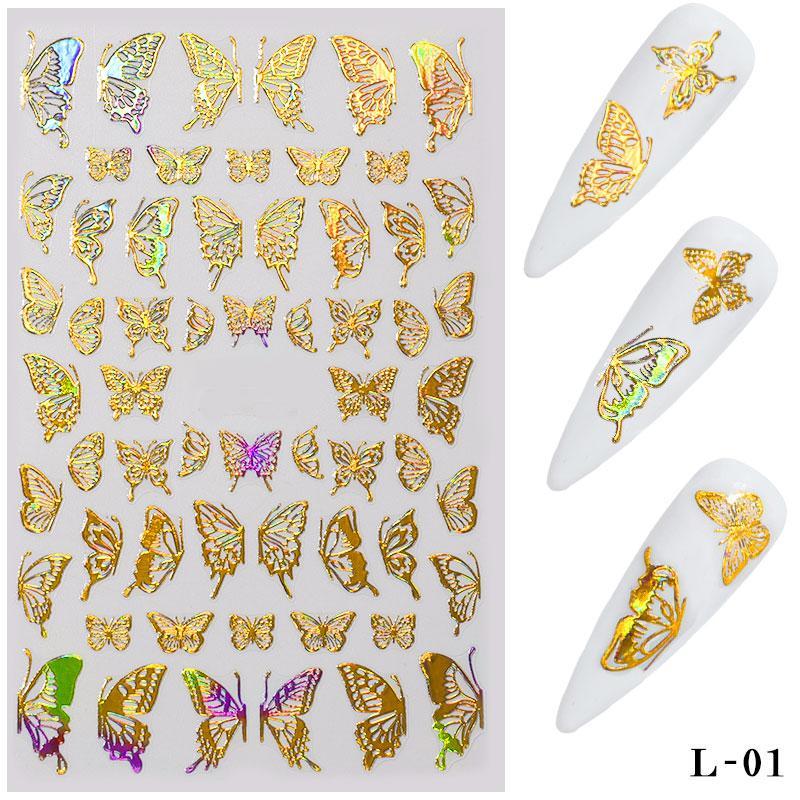 Gold Silver Nail Art Laser Butterfly Stickers Printemps Summer Papillon Stickers en métal Décalcomanies de manucure Holographique