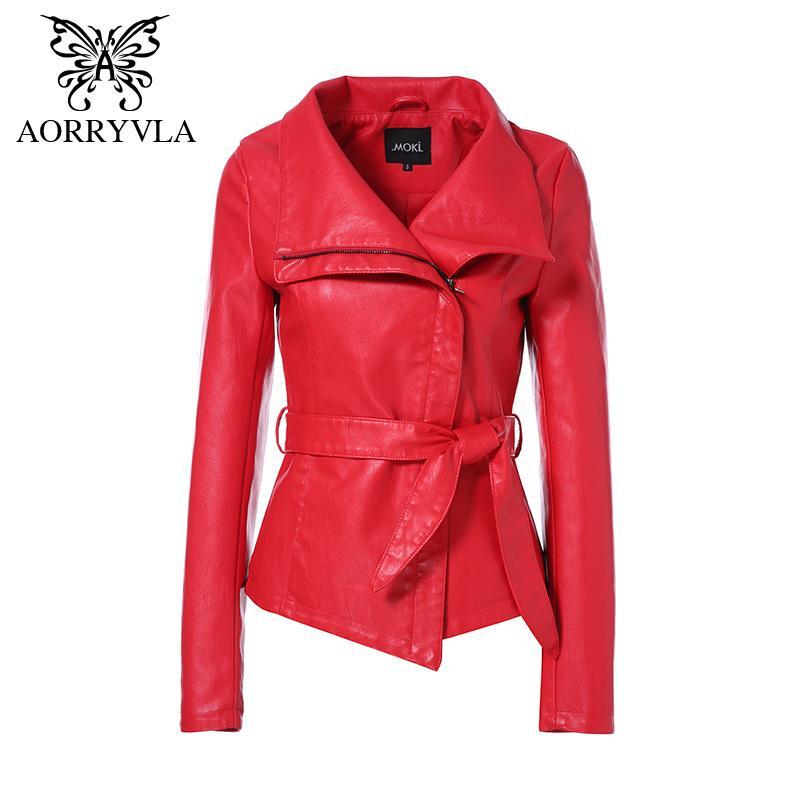 AORRYVLA Новая весна женщин кожаная куртка красного цвета отложным воротником Короткие Длина Тонкий Стиль Мода искусственной кожи Куртка 200924