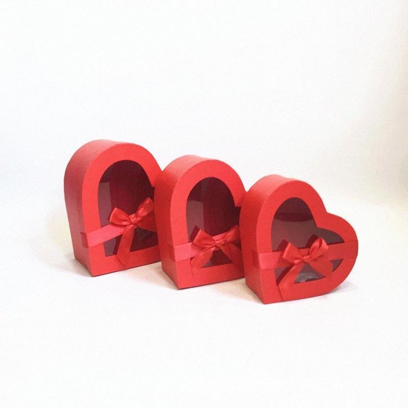 w7404-Heart-Shaped Box dom janela flor presente set Yongsheng caixa flor embalagem de três peças com a mão 6sDa #