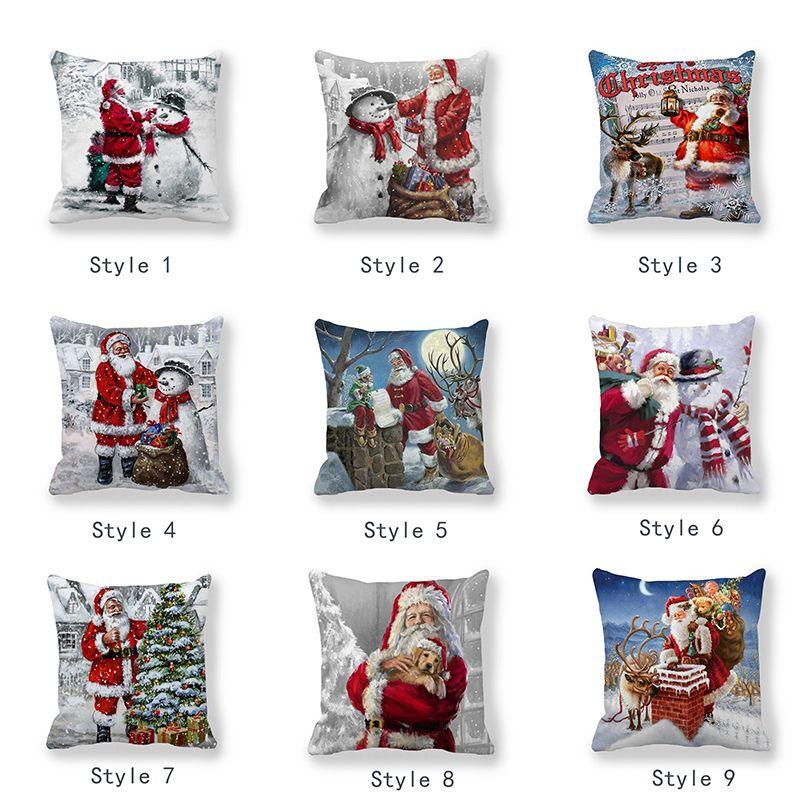 Single-sided Printing Suede Christmas Decorative Throw Pillows Case Cartoon Snowman Santa Claus Cushion Cover Car Home Decor