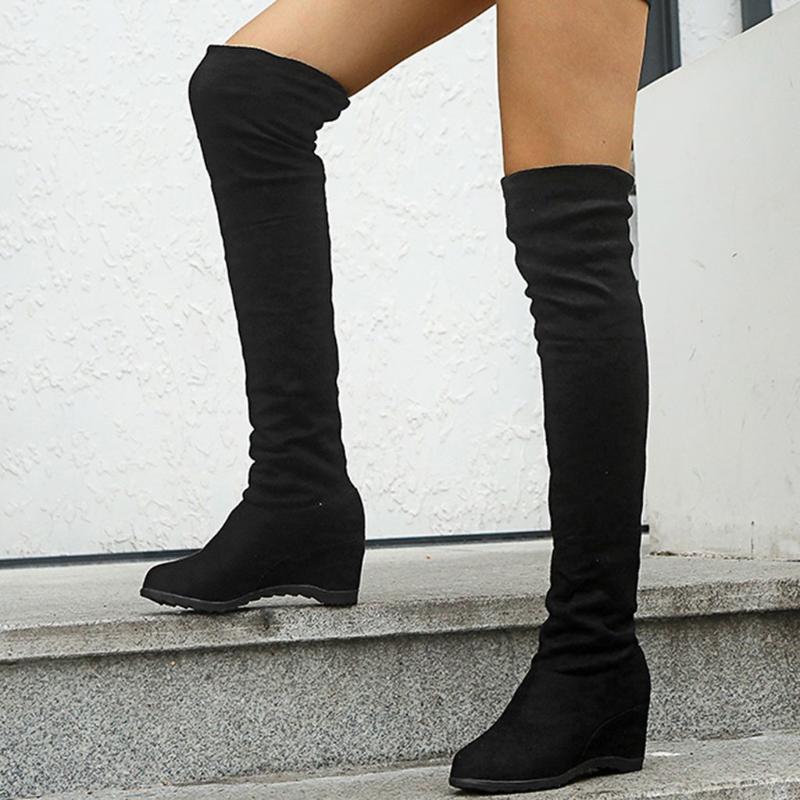 Knee Boots Sonbahar Kış Üzeri Kadınların Sıcak Yüksek Topuklar Ayakkabı Katı Uzun Çizme Yüksek takozları Kadın ayakkabı Ayakkabı