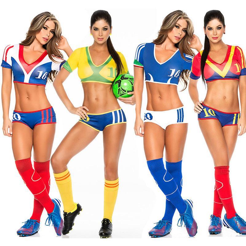 Sexy Land Damen-Fußball-Fußball-Baby-Ausstattung High School Girl Cheerleader Kostüm