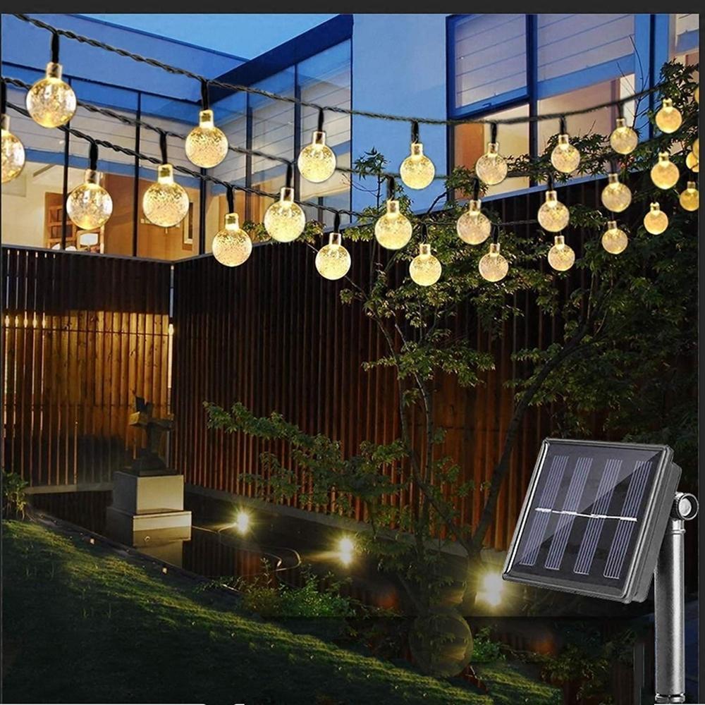 Wasserdichte Kristallkugel 5M / 10M 20/50 LED-Solarlampe der Leistungs-LED Schnur-feenhaftes Licht Solar-Garlands Garten Weihnachten Dekor für den Außenbereich