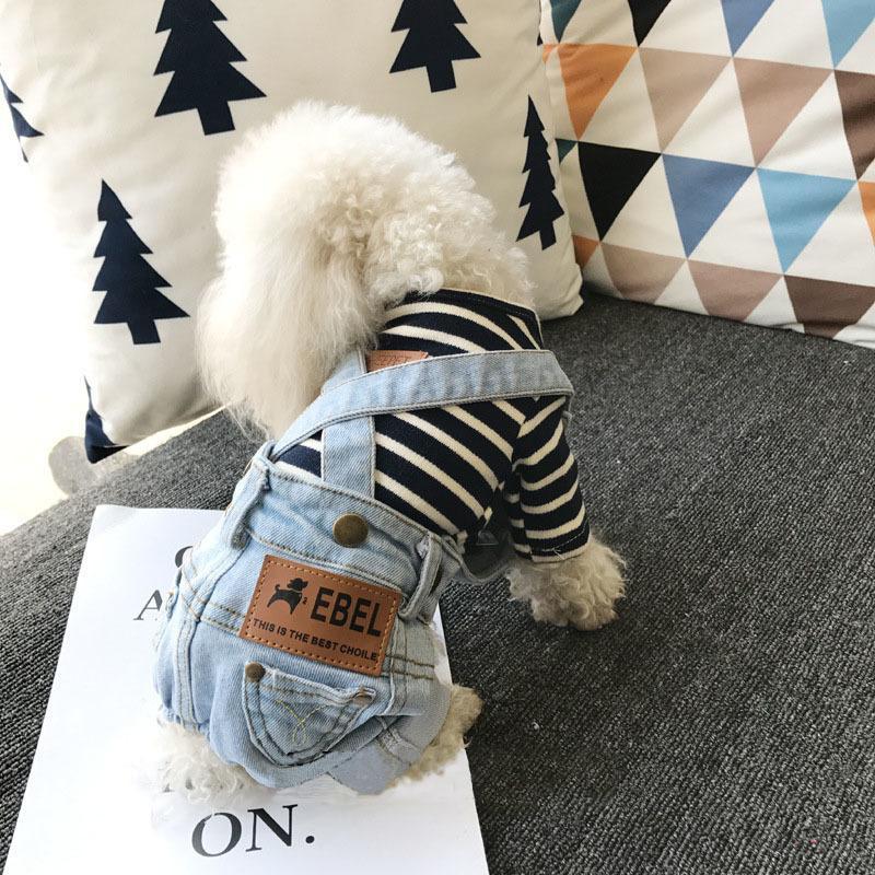 2018 dril de algodón del mono de los pequeños perros de perrito todas correspondan Jean traje traje perro del bar Verano Chihuahua para Puppy S-XXL Y200330