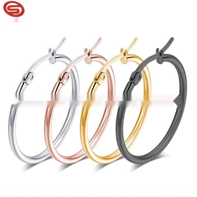 E5gNo inoxydable boucles d'oreilles de gros et de ligne acier exagéré grande boucles d'oreilles de mode boucle d'oreille oreille rondes en acier de titane