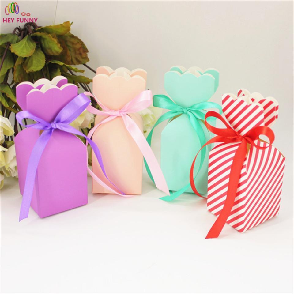 10шт Мультфильм Форма вазы Бумажные пакеты Baby Shower сувениры Подарочные Favor Candy Box Детские Девушки День рождения вечеринок