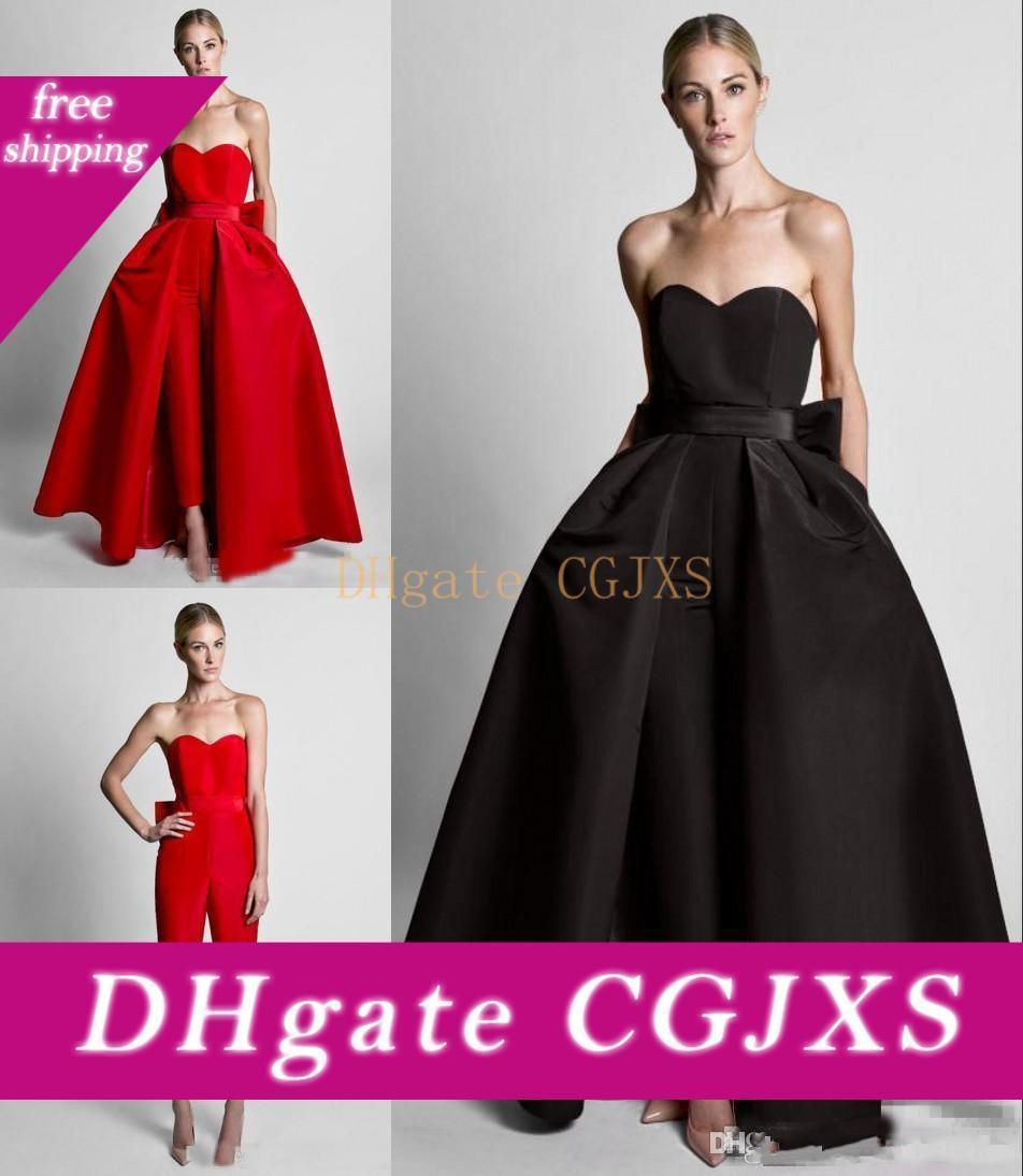 2020 Sexy Bianco Rosso Nero abiti da sera senza maniche in treno staccabile raso Sweetheart Abiti Piano Lunghezza convenzionale del vestito da partito di promenade