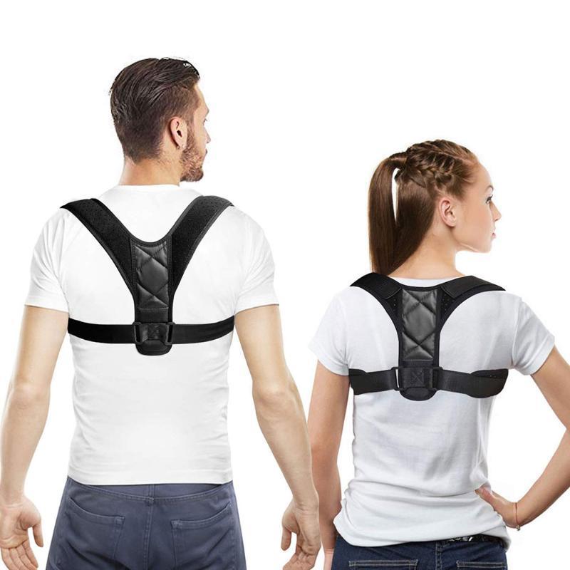Einstellbare Brace Rücken Schulter Stützgürtel zurück Körperhaltung Korrektor Clavicleweinlesehalskette Spine Lendenwirbel gerade Haltung Korrektur