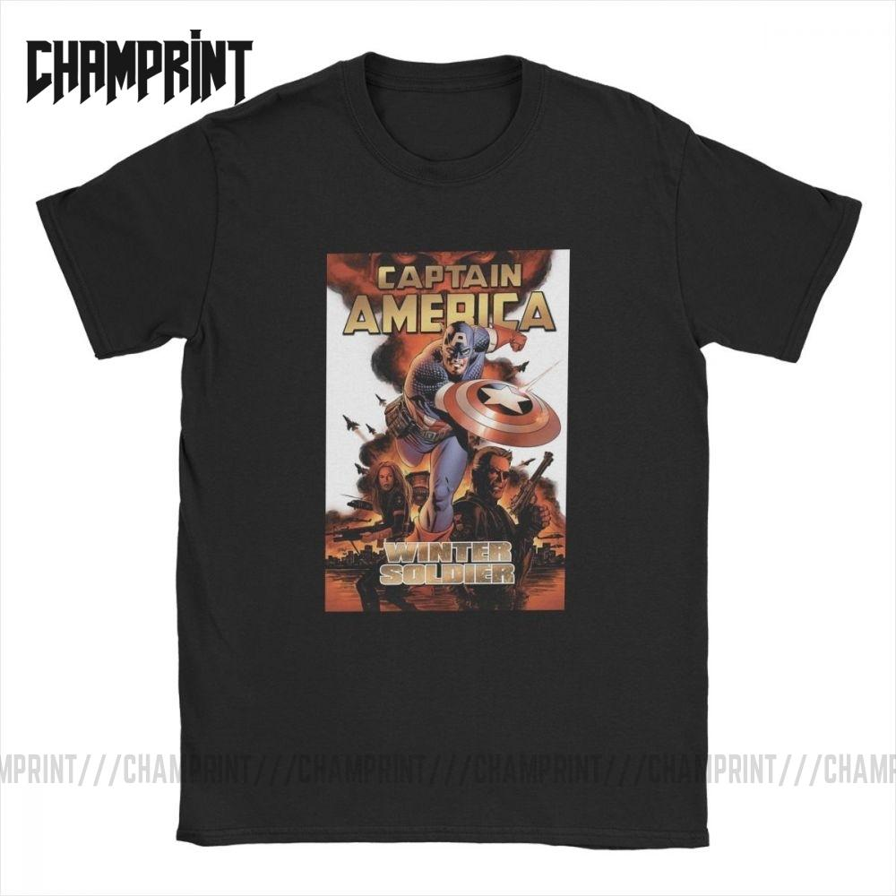 Engraçado Capitão América Camisetas de quadrinhos Men gola redonda 100% algodão camiseta manga curta Tees Impresso Tops Plus Size 4xl 5XL