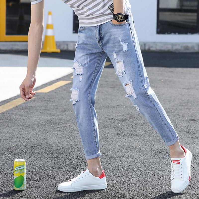 8 Denim Trendy Herren-Hosen 8 -fen ku ku Fen Denim 9 Hosen 9 Punkte dünnen Abschnitt koreanischen Stil Frühling Sommer Sommer 7 Punkte schlanke Füße