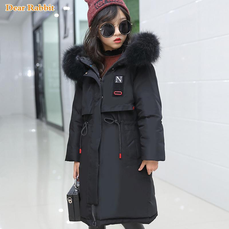 2020 nouveaux enfants vêtements Parka à capuche en fourrure véritable hiver chaud Détendre Veste vêtements de fille Kids Outwear Manteau Teen 10 14 Yr