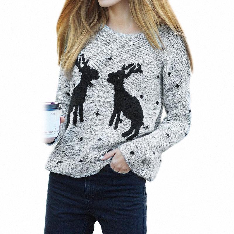 New Automne Hiver chaud de Noël Cerf chandail tricoté femmes O-cou Casual manches longues Slim tricot Pull s #