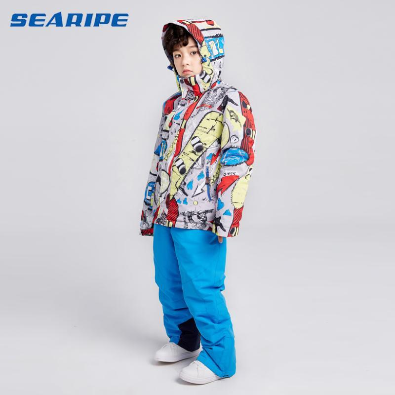 SEARIPE High Quality Kids Ski Suit Boys Ski Jacket Pants Set Waterproof Snowboarding Jacket Winter Children Skiing Suit