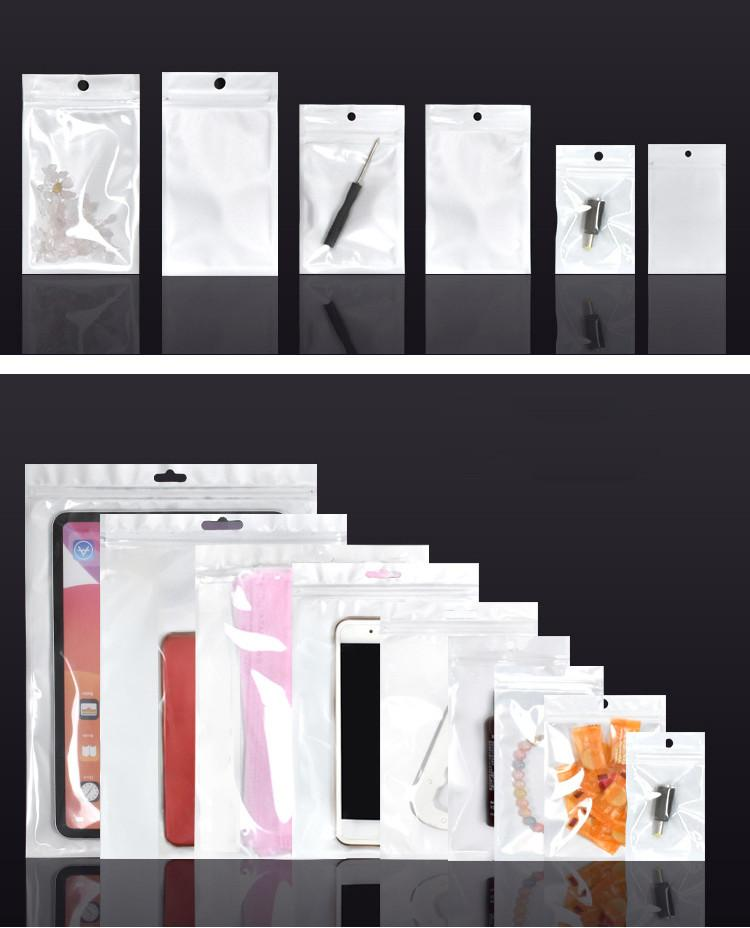 İnci Plastik Poly Bags Fermuar Perakende Takı Gıda Maskeler Telefon Kılıfı USB Sürücü Pil Çanta Kılıfı Şeffaf + Beyaz Birçok Boyutları Paketler Paketleme