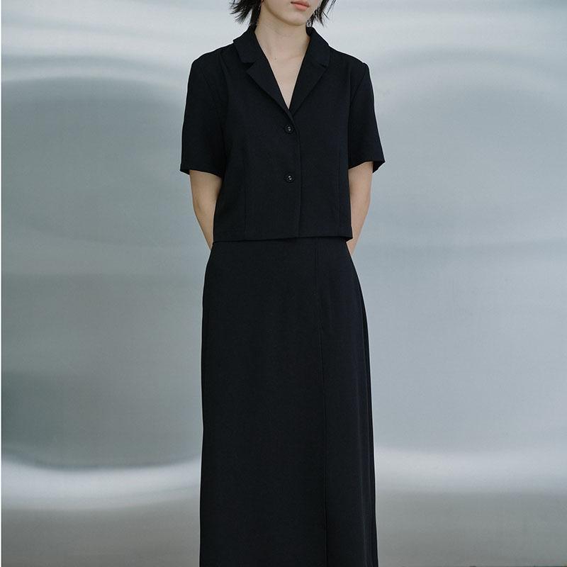 yb7Ia tek parça kadın yaz yeni Orta uzunlukta Overknee J200466 basit Elbise Kadın siyah etek etek uzun tulum elbise