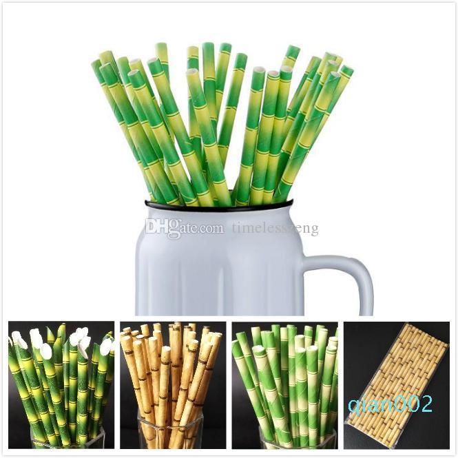 Colorido biodegradable de bambú bambú de la paja paja de papel ecológico 25Pcs un partido del Lote utilizan el bambú pajitas para beber paja en Promoción