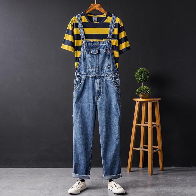 dJ2Xh Frauenhosen Herbst Overalls Overalls hopjeans breites Bein für Männer und Frühling lose Hüfte breite Jeans blau breit Bein Hose und Hosenträger
