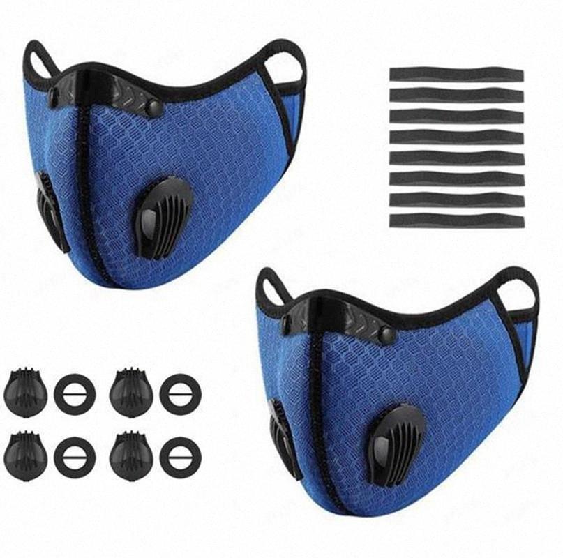 Activado con máscara ciclo del carbono de cara de filtro PM 2.5 Válvula respiratoria contra la contaminación por polvo protector Negro xpKQ #