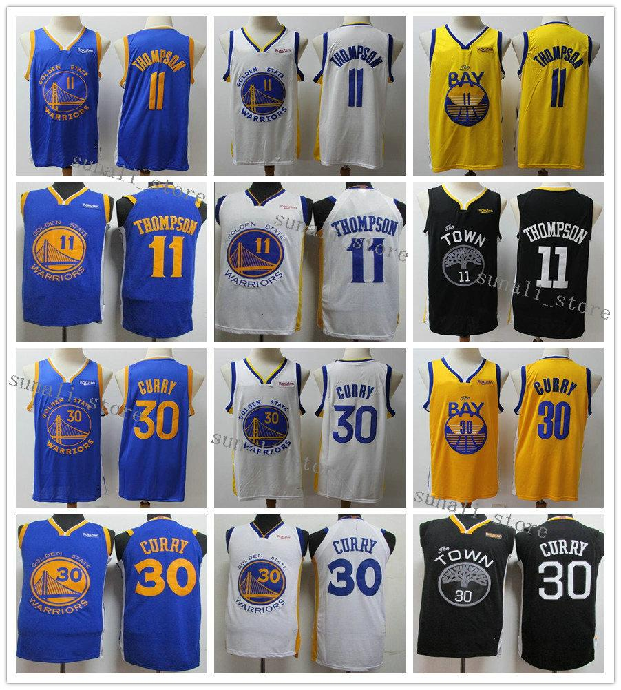 Nähende Männer Stephen 30 Curry-Trikots Klay 11 Thompson Draymond 23 Grün Basketball 2020 Neue Schwarze Gelb Blau Weiß Hemden