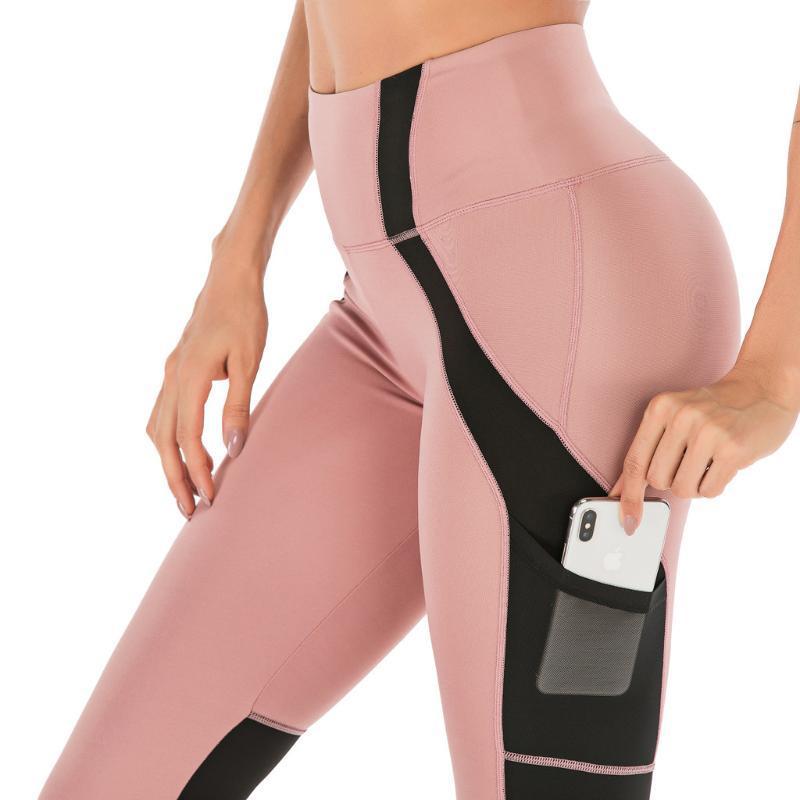 Entrenamiento de gimnasio ajustados pantalones de cintura alta Deportes Mujeres Anti-sudor suave aptitud Leggings pantalones de la yoga con Pocket # 20