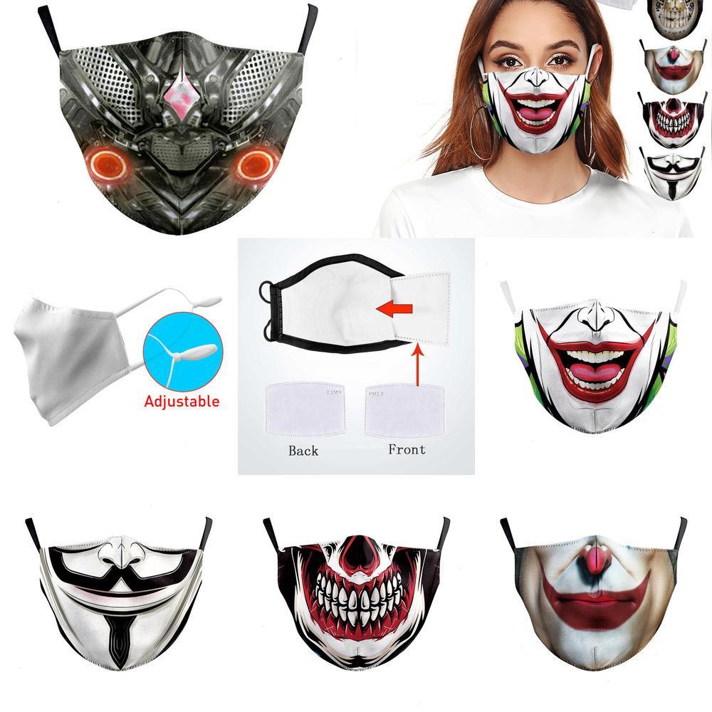 Máscara de caveira Big Galaxy Boca Imprimir Máscara protectora Adulto Washable Tecido Pm 2,5 Protective Poeira boca- 1DU11DU1 EGTQ STS3 1 1DFI