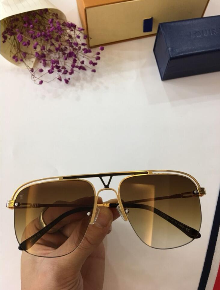 avec boîte MILLIONNAIRE lunettes de soleil plein cadre lunettes de soleil vintage pour les hommes Logo or brillant plaqué Top LOUIS VUITTON