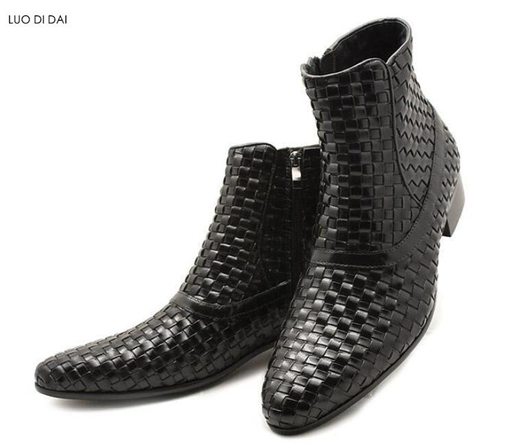 2020 nuevas botas de los hombres de moda tejer botas de zapatos de fiesta Hombre ZIP hasta botines para hombre zapatos de vestir de cuero marrón botines en punta del dedo del pie