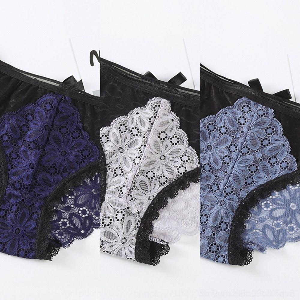 Q8XUr zfVCK Nueva francesa de la entrepierna de la ropa interior de la ropa interior de encaje del arco de mariposa mariposa del cordón de la cintura baja de algodón inferior atractivo de la respiración antibacteriana de las mujeres