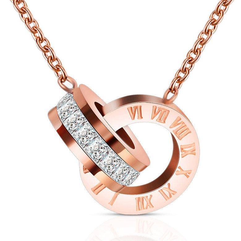 Pendant Necklaces Jewelry New Fashion High Polished 18K Gold Plated Roman Numerals Pendants Zircon Stainless Steel Necklaces