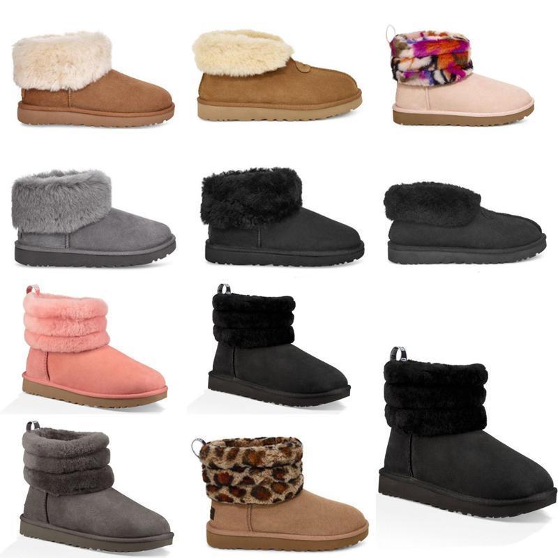 ugg women men kids uggs slippers furry boots slides neige cheville courte demi-Bow Fur Designer pour garder au chaud l'hiver Chaussures plate-forme courte botte de filles