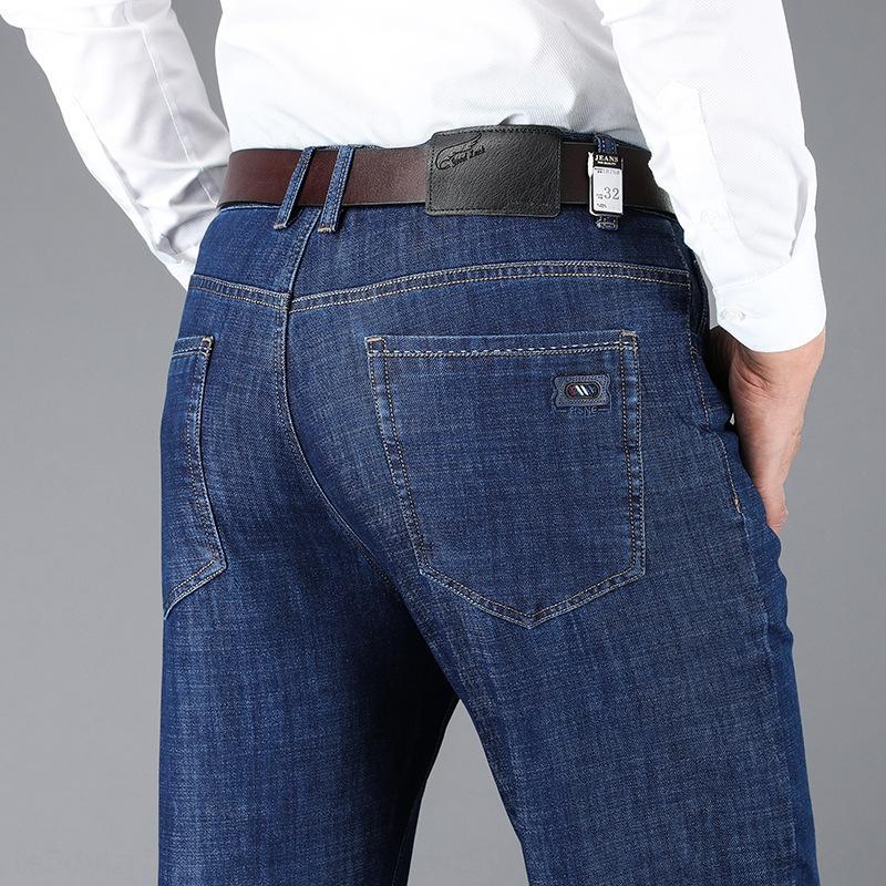 İlkbahar ve Sonbahar yeni Stretch Düz pantolon kot ve kot gevşek iş erkek büyük beden pantolon orta yaşlı erkek giyim UIJWv