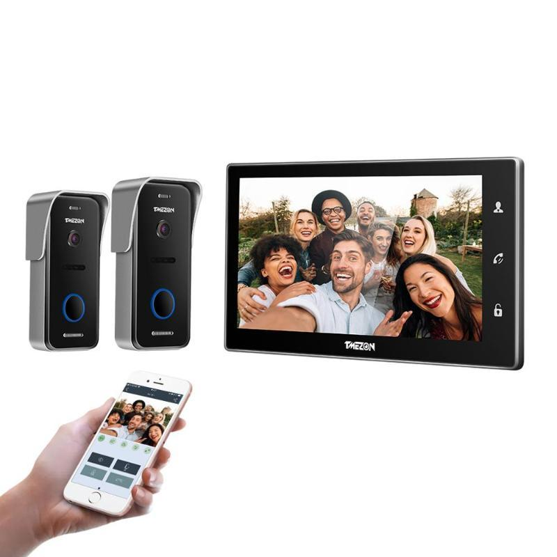 TMEZON 10 Inch Wireless / Wifi Inteligente de Vídeo IP campainha Sistema Intercom, Monitor de tela 1xTouch com 2x720P Porta Wired câmera do telefone