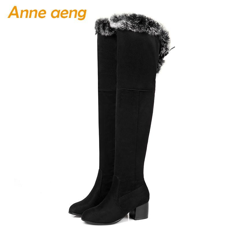 2020 Nuevas mujeres de invierno Botas de rodilla High Square Tacón cuadrado Toe Redondo Zeipper Piel Sólido Moda Mujeres Zapatos Botas Cálidas Negras