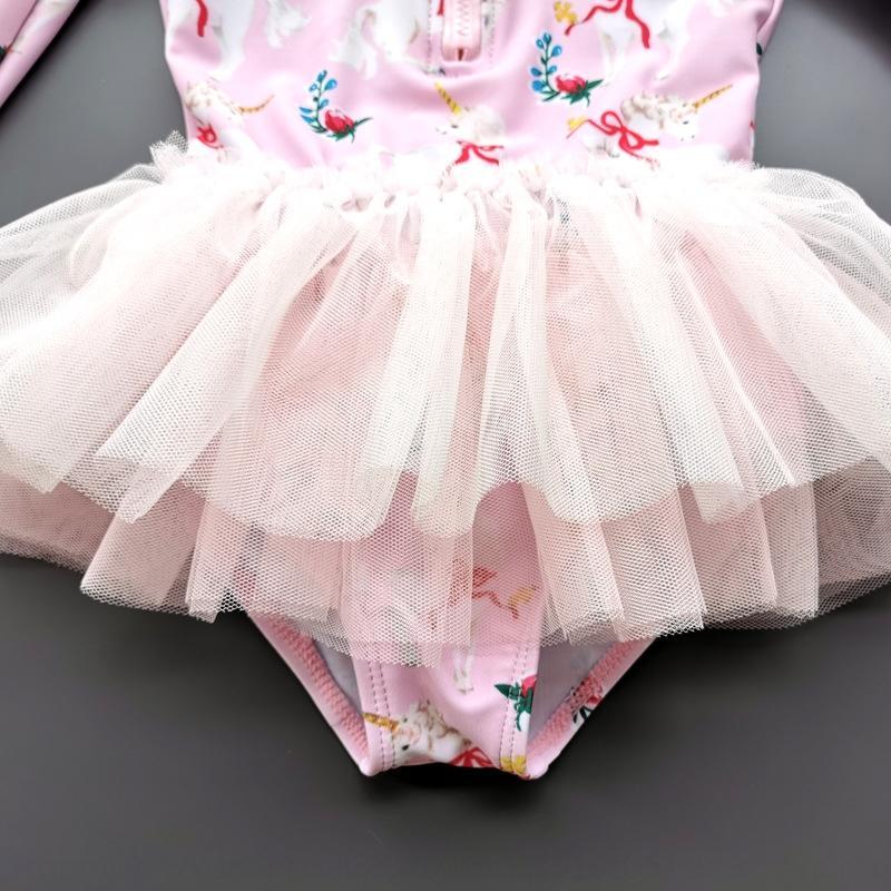 Princesa de ZZTGK IR6EA niños de una sola pieza niñas de manga larga vestido de traje de baño de sol de vestir de protección ins linda princesa traje de baño de los niños del bebé