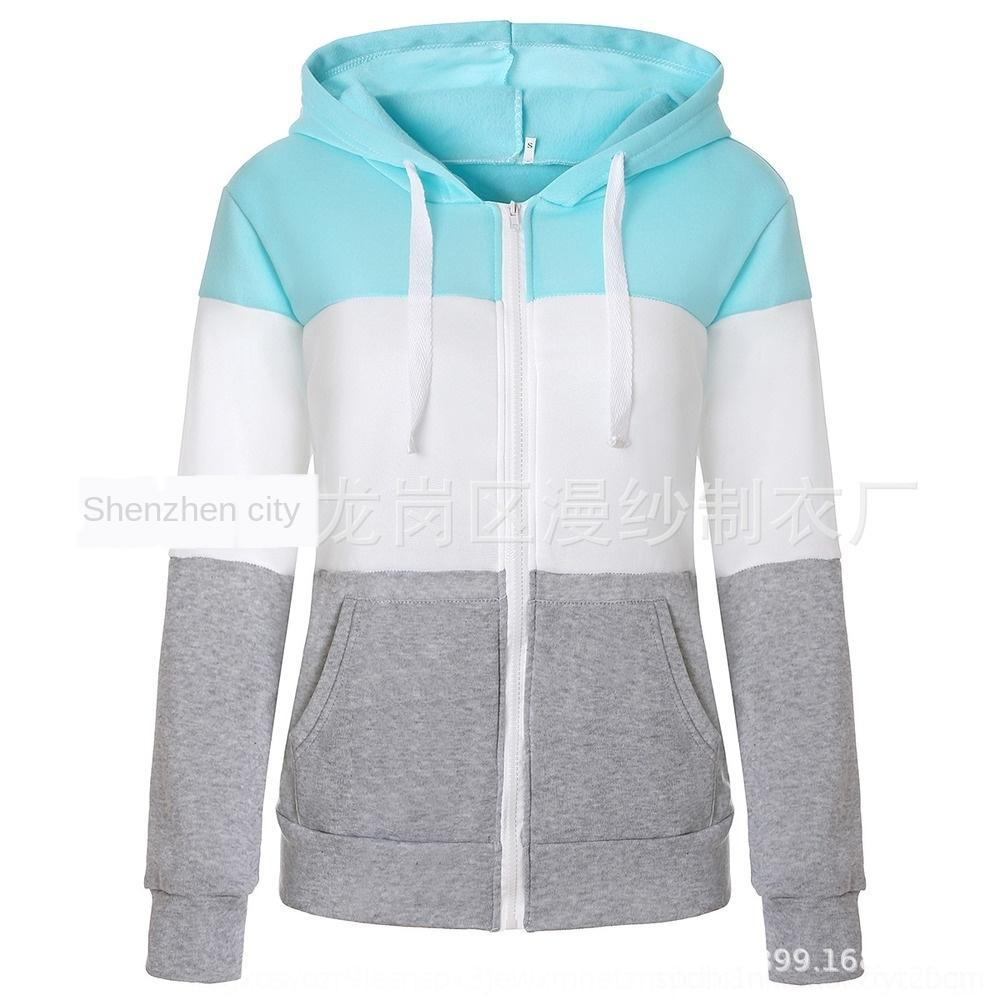 Jfhvf New color matching hooded drawstring sweater color matching sweater hooded drawstring New